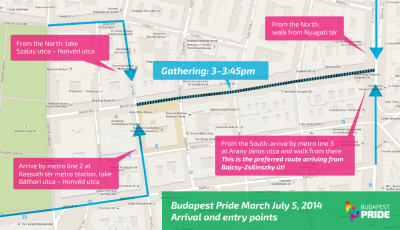 Share it! Meeting points to join Budapest Pride March